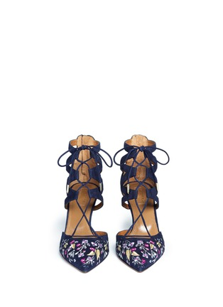 Front View - Click To Enlarge - Aquazzura - 'Belgravia' floral embroidery caged suede pumps