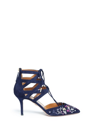 Main View - Click To Enlarge - Aquazzura - 'Belgravia' floral embroidery caged suede pumps