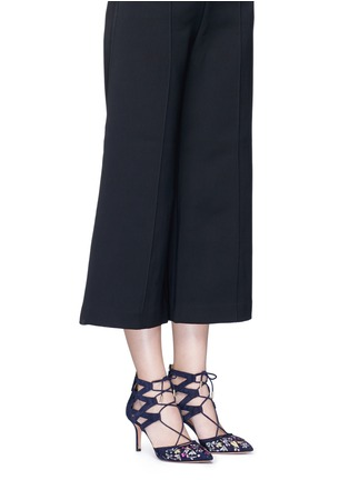 Figure View - Click To Enlarge - Aquazzura - 'Belgravia' floral embroidery caged suede pumps