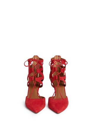 Front View - Click To Enlarge - Aquazzura - 'Belgravia' caged suede pumps