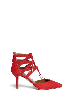 Main View - Click To Enlarge - Aquazzura - 'Belgravia' caged suede pumps