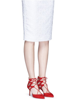 Figure View - Click To Enlarge - Aquazzura - 'Belgravia' caged suede pumps