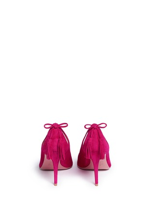 Back View - Click To Enlarge - AQUAZZURA - 'Forever Marilyn 85' tassel bow cutout suede pumps