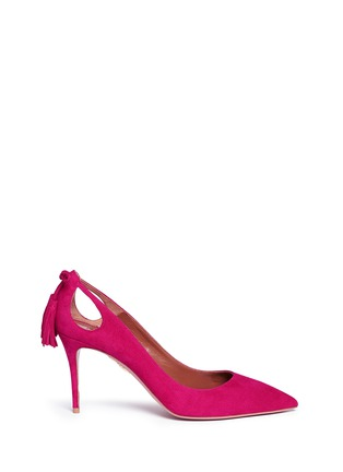 Main View - Click To Enlarge - AQUAZZURA - 'Forever Marilyn 85' tassel bow cutout suede pumps