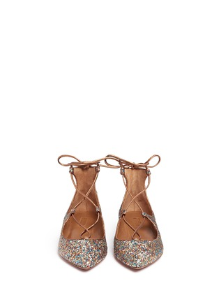 Front View - Click To Enlarge - Aquazzura - 'Christy' metallic glitter lace-up flats