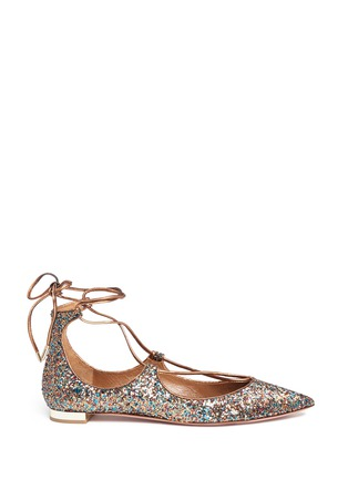 Main View - Click To Enlarge - Aquazzura - 'Christy' metallic glitter lace-up flats