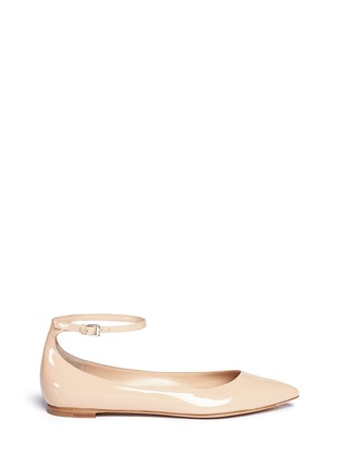 Main View - Click To Enlarge - Gianvito Rossi - 'Gia' ankle strap patent leather skimmer flats