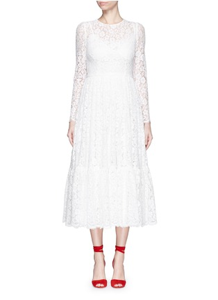 Main View - Click To Enlarge - Dolce & Gabbana - Dropped hem lace midi dress