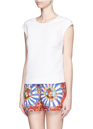 Figure View - Click To Enlarge - Dolce & Gabbana - Floral jacquard cap sleeve top