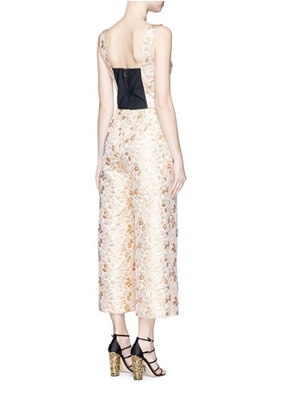 Back View - Click To Enlarge - - - Metallic floral brocade culotte jumpsuit