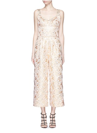 Main View - Click To Enlarge - - - Metallic floral brocade culotte jumpsuit