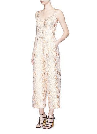 Figure View - Click To Enlarge - - - Metallic floral brocade culotte jumpsuit
