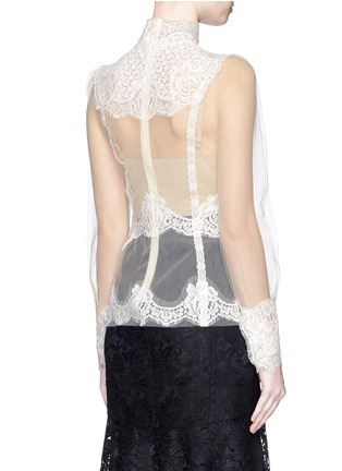 Back View - Click To Enlarge - - - Lace insert high neck tulle top