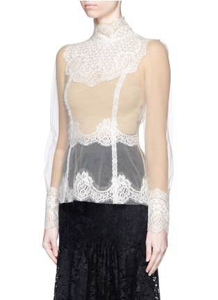 Front View - Click To Enlarge - - - Lace insert high neck tulle top