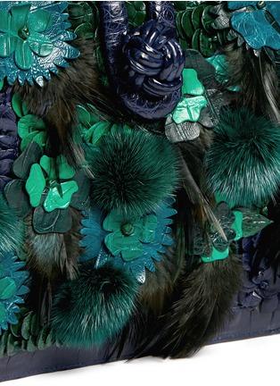 Detail View - Click To Enlarge - Nancy Gonzalez - Flower mink pom-pom crocodile leather shoulder bag
