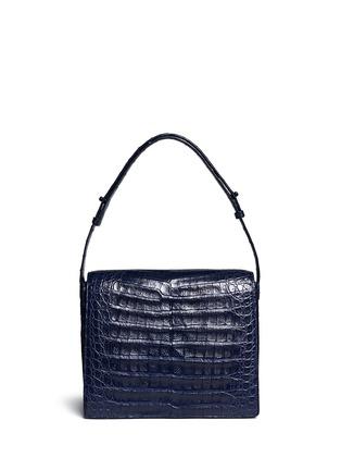 Back View - Click To Enlarge - Nancy Gonzalez - Flower mink pom-pom crocodile leather shoulder bag