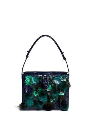 Main View - Click To Enlarge - Nancy Gonzalez - Flower mink pom-pom crocodile leather shoulder bag