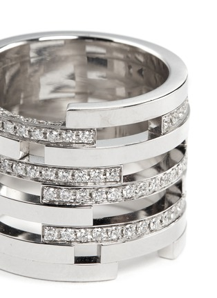 Detail View - Click To Enlarge - DAUPHIN - Diamond 18k white gold nine tier cutout ring