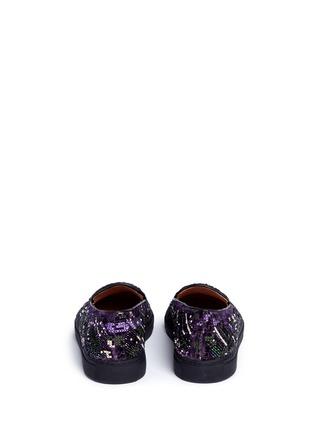 Back View - Click To Enlarge - DRIES VAN NOTEN - Beaded embroidery embossed velvet skate slip-ons