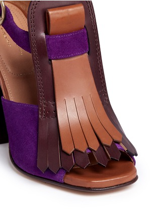 Detail View - Click To Enlarge - Dries Van Noten - Leather fringe suede sandals
