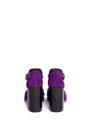 Back View - Click To Enlarge - Dries Van Noten - Leather fringe suede sandals