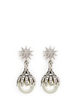 Main View - Click To Enlarge - Lulu Frost - 'Electra' pavé glass pearl drop earrings
