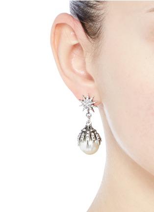 Figure View - Click To Enlarge - Lulu Frost - 'Electra' pavé glass pearl drop earrings