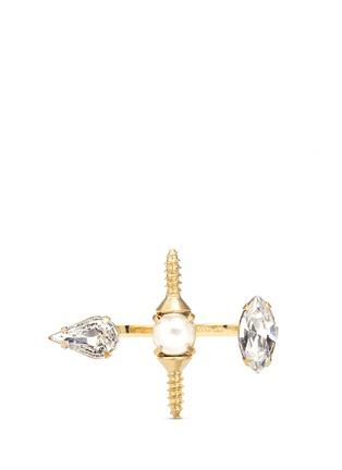Main View - Click To Enlarge - Joomi Lim - 'Screw U' Swarovski crystal pearl two finger ring