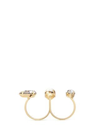 Figure View - Click To Enlarge - Joomi Lim - 'Screw U' Swarovski crystal pearl two finger ring