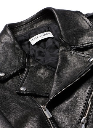 Detail View - Click To Enlarge - BALENCIAGA - Detachable shearling collar leather biker jacket