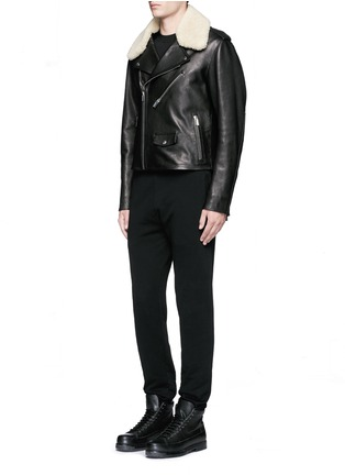 Figure View - Click To Enlarge - BALENCIAGA - Detachable shearling collar leather biker jacket