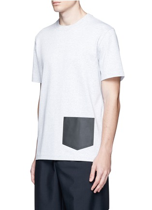 Front View - Click To Enlarge - Balenciaga - Leather patch pocket cotton T-shirt
