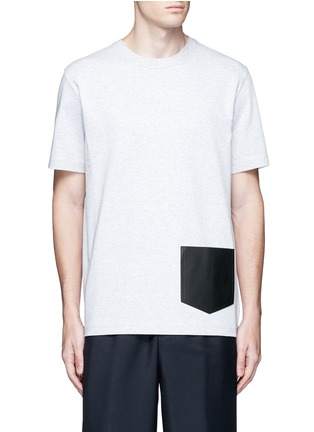 Main View - Click To Enlarge - Balenciaga - Leather patch pocket cotton T-shirt