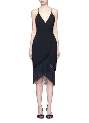 Main View - Click To Enlarge - Nicholas - Macramé fringe crepe wrap dress
