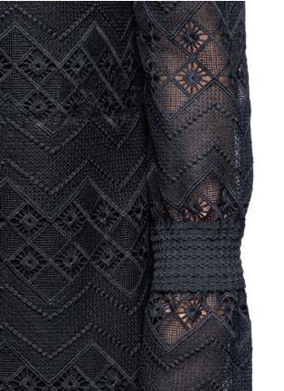 Detail View - Click To Enlarge - Nicholas - Zigzag edge off-shoulder geometric lace dress