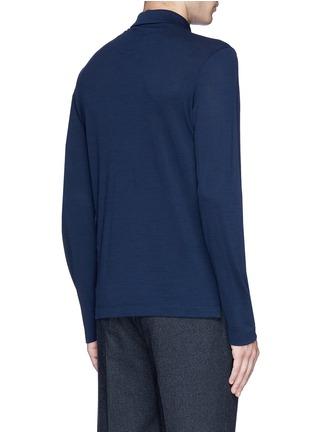 Back View - Click To Enlarge - Canali - Fleece wool piqué polo shirt