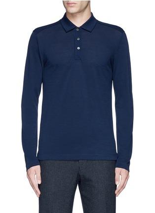 Main View - Click To Enlarge - Canali - Fleece wool piqué polo shirt