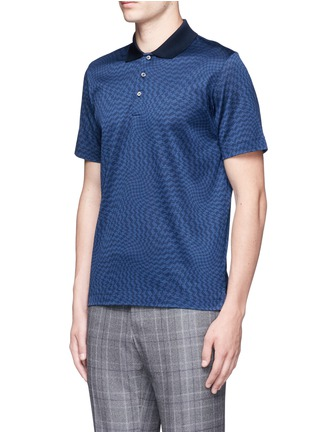 Front View - Click To Enlarge - Canali - Houndstooth cotton polo shirt