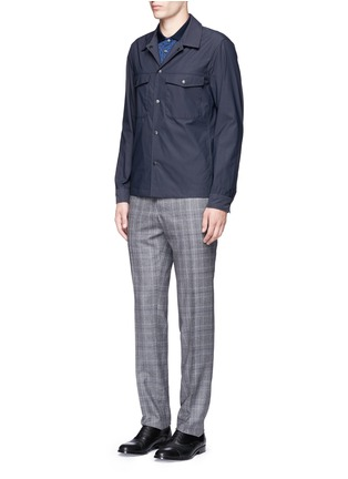 Figure View - Click To Enlarge - Canali - Houndstooth cotton polo shirt