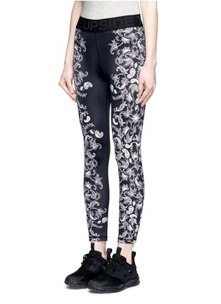 Front View - Click To Enlarge - The Upside - 'Etched Paisley Guru NYC' performance leggings