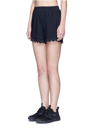 Front View - Click To Enlarge - Koral - 'Loop' elastic seamless scalloped edge shorts