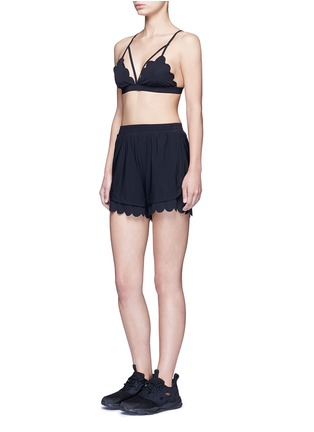 Figure View - Click To Enlarge - Koral - 'Loop' elastic seamless scalloped edge shorts