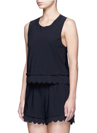 Front View - Click To Enlarge - Koral - 'Loop' scalloped edge crop top