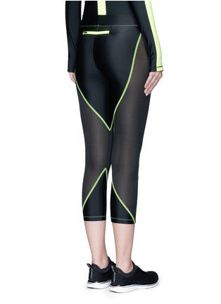 Back View - Click To Enlarge - Laain - Mesh panel performance jersey 3/4 leggings