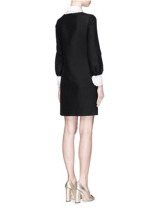 Back View - Click To Enlarge - Gucci - Ruffle trim wool-silk cady shirt dress
