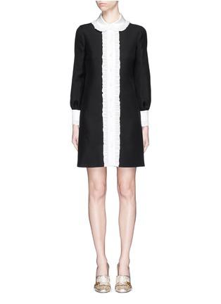 Main View - Click To Enlarge - GUCCI - Ruffle trim wool-silk cady shirt dress