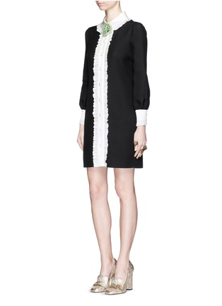 Figure View - Click To Enlarge - Gucci - Ruffle trim wool-silk cady shirt dress