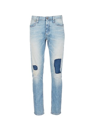 Main View - Click To Enlarge - DENHAM - 'Razor' patchwork selvedge denim jeans