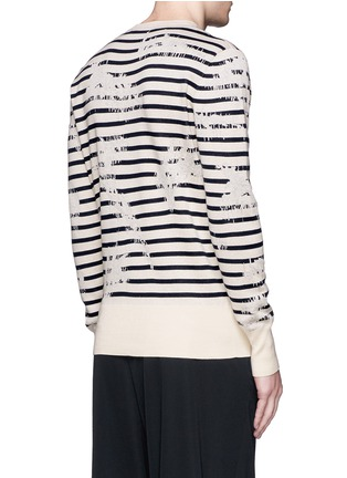Back View - Click To Enlarge - ALEXANDER MCQUEEN - Mending jacquard stripe sweater