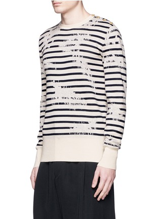 Front View - Click To Enlarge - ALEXANDER MCQUEEN - Mending jacquard stripe sweater